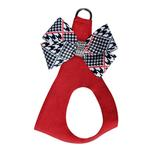 View Image 1 of Classic Glen Houndstooth Nouveau Bow Step-In Dog Harness by Susan Lanci - Red