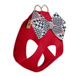 View Image 2 of Classic Glen Houndstooth Nouveau Bow Step-In Dog Harness by Susan Lanci - Red