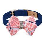 View Image 1 of Peaches & Cream Glen Houndstooth Nouveau Bow Luxury Dog Collar by Susan Lanci - Indigo