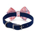 View Image 2 of Peaches & Cream Glen Houndstooth Nouveau Bow Luxury Dog Collar by Susan Lanci - Indigo