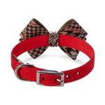 View Image 2 of Chocolate Glen Houndstooth Nouveau Bow Luxury Dog Collar by Susan Lanci - Red