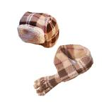 View Image 1 of My Canine Kids Aviator Hat and Scarf Set for Dogs - Tan Plaid