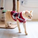 View Image 5 of Fonzie Turtleneck Cat Shirt by Catspia - Red