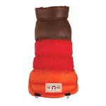 View Image 1 of Colorblock Puffer Dog Coat by fabdog® - Brown, Red, and Orange