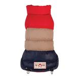 View Image 1 of Colorblock Puffer Dog Coat by fabdog® - Red, Tan and Navy