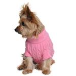 View Image 2 of Cable Knit Dog Sweater by Doggie Design - Candy Pink