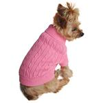 View Image 1 of Cable Knit Dog Sweater by Doggie Design - Candy Pink