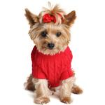 View Image 2 of Cable Knit Dog Sweater by Doggie Design - Fiery Red