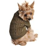 View Image 1 of Cable Knit Dog Sweater by Doggie Design - Herb Green