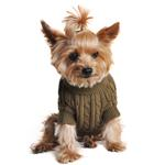 View Image 2 of Cable Knit Dog Sweater by Doggie Design - Herb Green