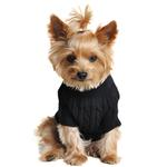 View Image 2 of Cable Knit Dog Sweater by Doggie Design - Jet Black