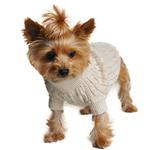 View Image 2 of Cable Knit Dog Sweater by Doggie Design - Oatmeal