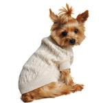 View Image 1 of Cable Knit Dog Sweater by Doggie Design - Oatmeal