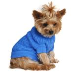 View Image 1 of Cable Knit Dog Sweater by Doggie Design - Riverside Blue
