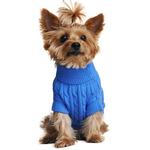 View Image 2 of Cable Knit Dog Sweater by Doggie Design - Riverside Blue