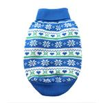 View Image 1 of Snowflake and Hearts Dog Sweater by Doggie Design - Blue