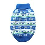 View Image 2 of Snowflake and Hearts Dog Sweater by Doggie Design - Blue