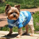 View Image 4 of Snowflake and Hearts Dog Sweater by Doggie Design - Blue