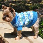 View Image 3 of Snowflake and Hearts Dog Sweater by Doggie Design - Blue