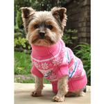 View Image 3 of Snowflake and Hearts Dog Sweater by Doggie Design - Pink