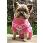 View Image 2 of Snowflake and Hearts Dog Sweater by Doggie Design - Pink