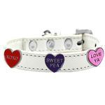 View Image 1 of Conversation Hearts Widget Dog Collar - White