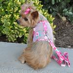 View Image 1 of Cool Mesh Dog Harness by Doggie Design - Hawaiian Hibiscus Pink