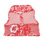 View Image 2 of Cool Mesh Dog Harness by Doggie Design - Hawaiian Hibiscus Red