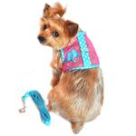 View Image 1 of Cool Mesh Dog Harness Under the Sea Collection by Doggie Design - Pink and Blue Flip Flops