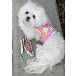 View Image 3 of Cool Mesh Dog Harness with Leash by Doggie Design - Pink Hawaiian Floral