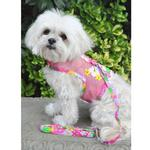 View Image 5 of Cool Mesh Dog Harness with Leash by Doggie Design - Pink Hawaiian Floral