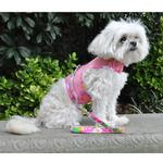 View Image 4 of Cool Mesh Dog Harness with Leash by Doggie Design - Pink Hawaiian Floral
