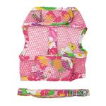 View Image 2 of Cool Mesh Dog Harness with Leash by Doggie Design - Pink Hawaiian Floral