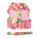View Image 1 of Cool Mesh Dog Harness with Leash by Doggie Design - Pink Hawaiian Floral