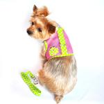 View Image 1 of Cool Mesh Dog Harness by Doggie Design - Polka Dot Frog on Pink