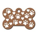 View Image 1 of Copper Etched Bone Large Engravable Pet I.D. Tag - Paws and Hearts