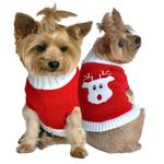View Image 1 of Rudolph Holiday Dog Sweater by Doggie Design - Red