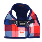 View Image 1 of Quinn Plaid Vest Dog Harness by Puppia - Navy