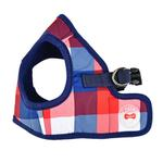 View Image 3 of Quinn Plaid Vest Dog Harness by Puppia - Navy
