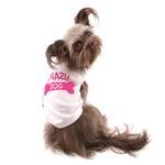 View Image 3 of Crazy Dog Shirt / Crazy Dog Mom Human Shirt - White with Pink Print