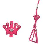 View Image 1 of Crown Step-In Dog Harness with Leash by Cha-Cha Couture - Hot Pink