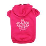 View Image 1 of Crowned Crossbones Dog Hoodie - Raspberry Sorbet