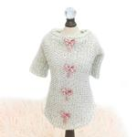 View Image 2 of Dainty Bow Dog Sweater Tee by Hello Doggie - Cream