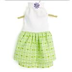 View Image 1 of Daisy and Lucy Green Print Double Flannel Skirt White Top Dog Dress