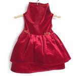 View Image 1 of Daisy and Lucy Red Velvet Double Skirt Dog Dress - Red
