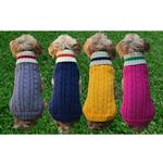 View Image 3 of Dallas Dogs Preppy Pup Dog Sweater - Hot Pink with Green Stripe