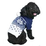 View Image 2 of Reese Dog Sweater Hoodie by Pooch Outfitters - Blue