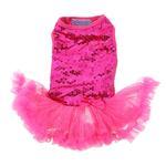 View Image 1 of Dark Pink Sequin Pet Dress by Pawpatu