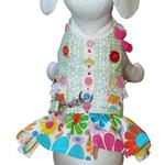 View Image 1 of Darlin' Daisy Dog Harness Dress by Cha-Cha Couture - Green