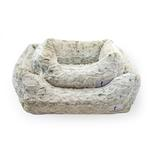 View Image 1 of Animal Print Luxe Dog Bed by Hello Doggie - Pearl Leopard